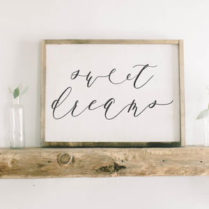 Sweet Dreams Framed Wood Sign