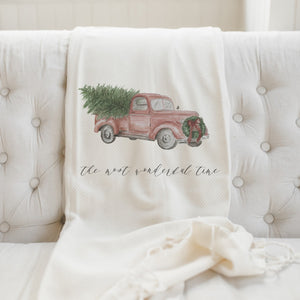 The Most Wonderful Time Watercolor Throw Blanket