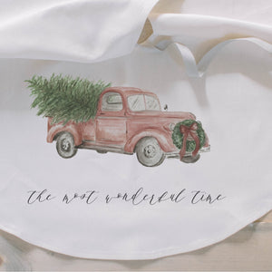 The Most Wonderful Time Watercolor Tree Skirt