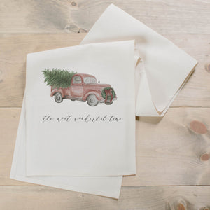 Vintage Truck Christmas Watercolor Table Runner