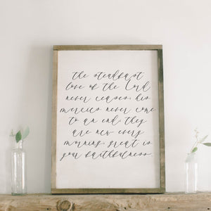 The Steadfast Love of The Lord Rectangle Framed Wood Sign