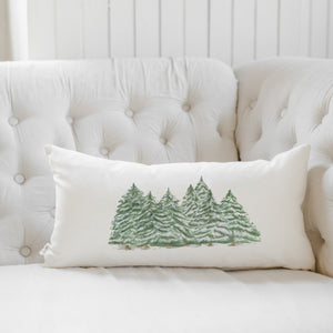 Trees Christmas Watercolor Lumbar Pillow