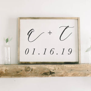 Personalized Two Initials And Date Framed Wood Sign