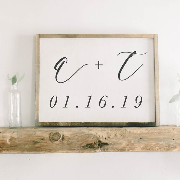 Personalized Two Initials and Date Rectangle Framed Wood Sign
