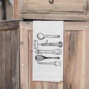 Utensils Folded Tea Towel