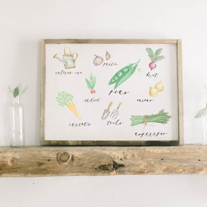Vegetables Watercolor Framed Wood Sign