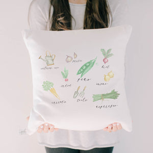 Vegetables Watercolor Pillow