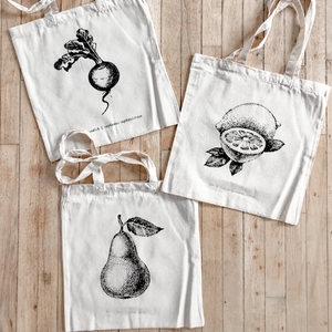 Fruits/Veggies Black + White Tote Bag