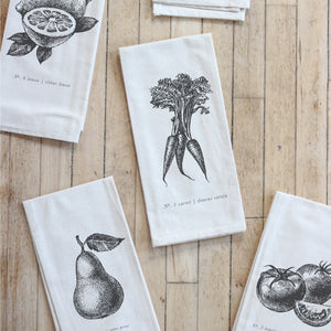 Fruits/Veggies Black + White Tea Towel