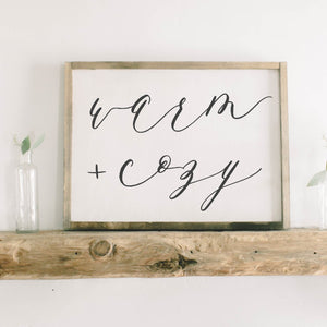 Warm & Cozy Framed Wood Sign