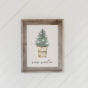 Warm Wishes Watercolor Barn Wood Framed Print