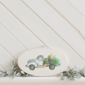 Floral Truck Watercolor Faux Embroidery Hoop