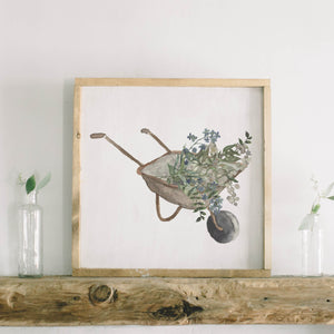 Wheel Barrow Watercolor Framed Wood Sign