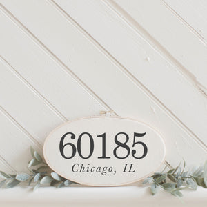 Personalized Zip Code Faux Embroidery Hoop