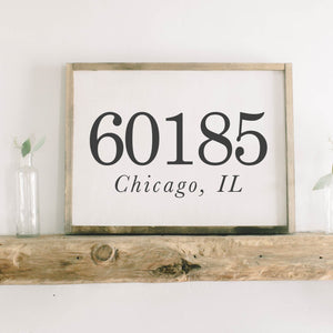 Personalized Zip Code Rectangle Framed Wood Sign