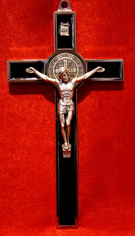 "Crucifix - 8"" Black Inlaid St. Benedict"