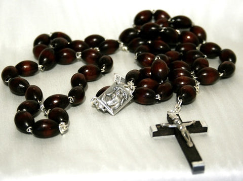 Rosary - Extra Large Oval Wood Bead