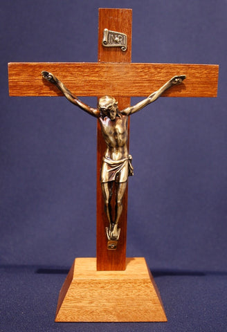 Crucifix on Stand - Wood and Metal