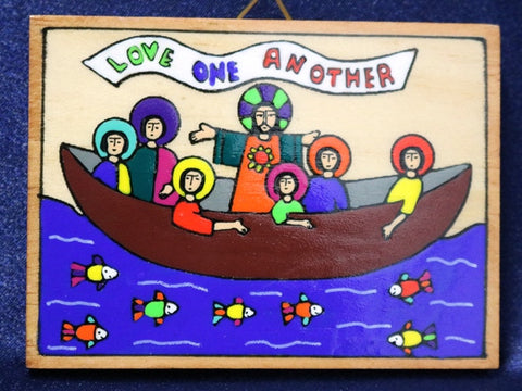 Wooden Plaque 'Love one another'