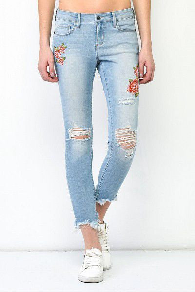 Hidden - Distressed Skinny with Embroidery