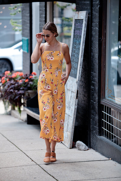 Floral Crepe Bow Back Jumpsuit With Pockets