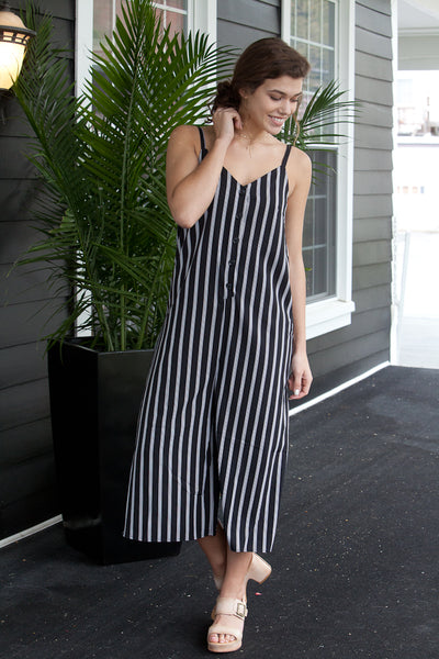 Sleeveless Striped Button Down Cropped Midi Jumpsuit