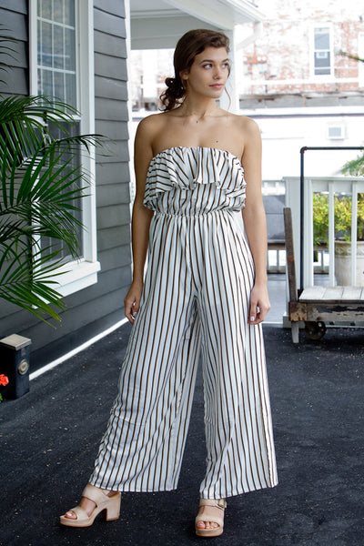 Strapless Striped Tube Jumpsuit With Ruffled Top