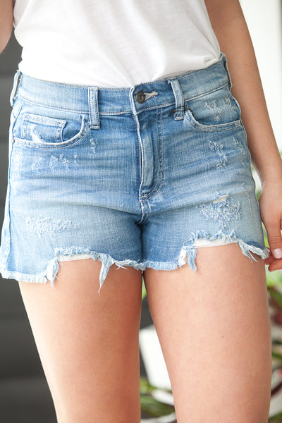 Distressed High Rise Shorts With Unfinished Hem