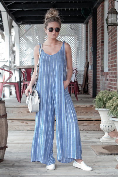 Wide Leg Spaghetti Strap Jumpsuit with Pockets
