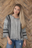 Boat Neck Sweater with Fray Detail