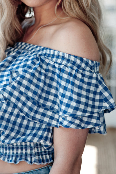 Gingham Off The Shoulder Cropped Top With Ruffles - Navy