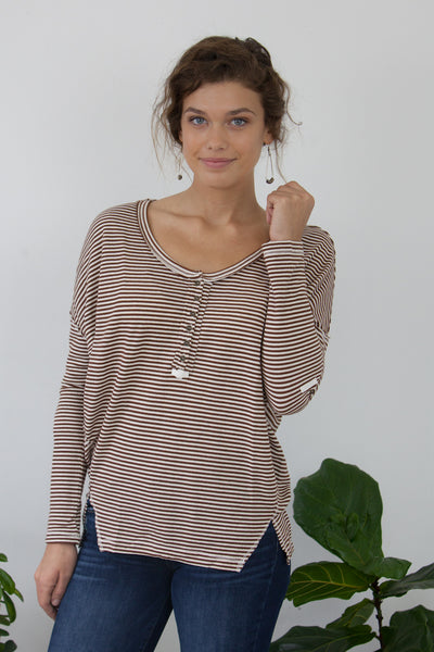 Front Slit Striped Top