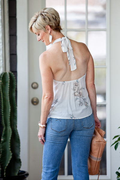 Bondi Halter Top - Sketch White Alyssum