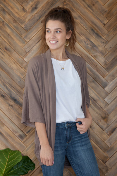 3/4 Sleeve Bat Wing Open Cardigan