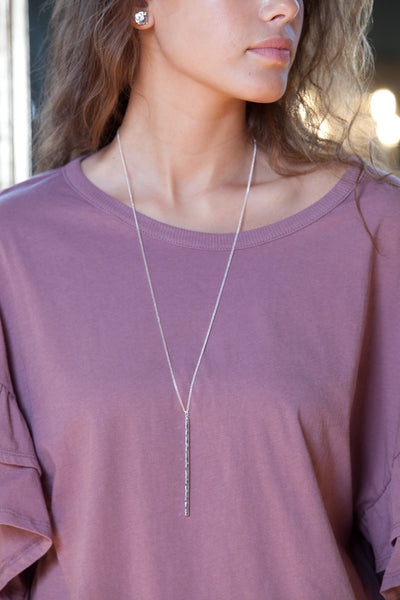 Hammered Metal Rod Necklace