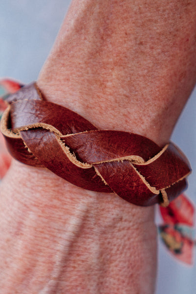 Braided Leather Bracelet with Snap Closure