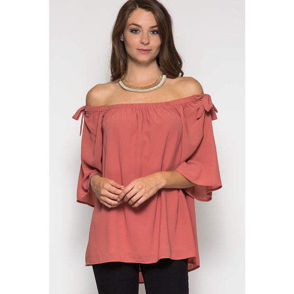 3/4 Sleeve Off Shoulder Top
