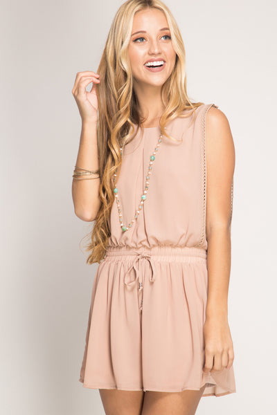 Sleeveless Romper with Ruched Cowl Back