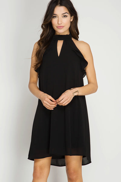 High Neck Ruffled Halter Dress