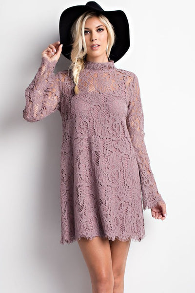 High Neck Keyhole Back Crochet Dress