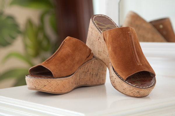 Sam Edelman Ranger Wedge Sandal - Brown Suede