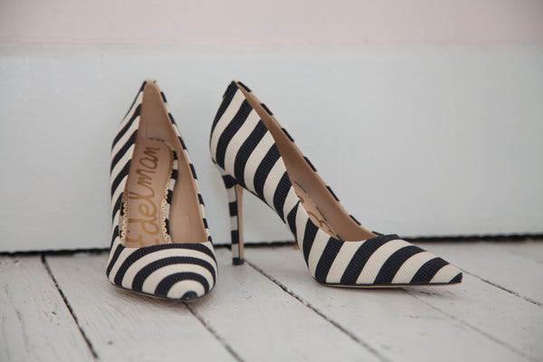 Sam Edelman Hazel Black & White Striped Heel