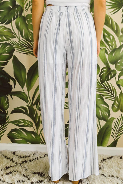 Striped Linen Straight Pants