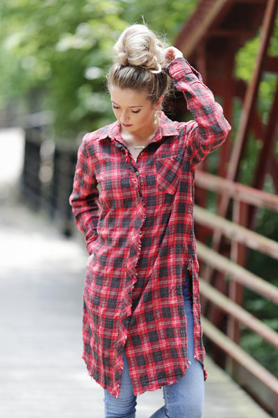 Embroidered Plaid Tunic Shirt