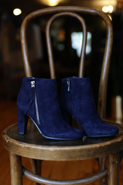 Sam Edelman - Sadee, Navy Suede Heeled Boot