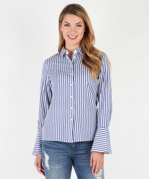 Luz Wide Cuff Button Down Blouse
