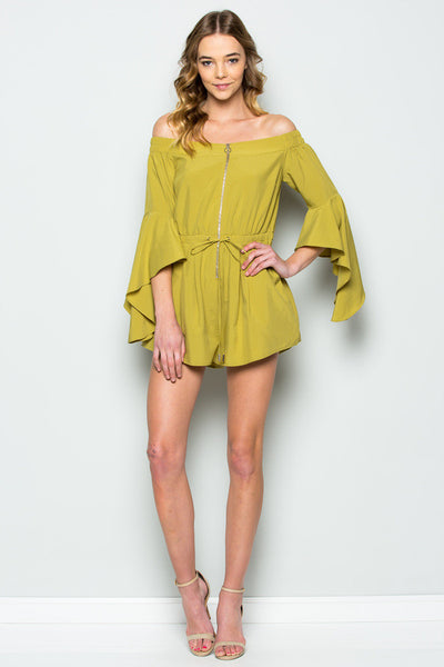 Off The Shoulder Bell Sleeve Zippered Romper