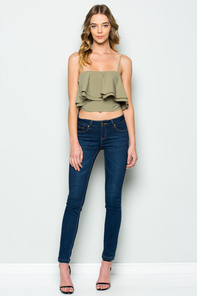 Strappy Ruffle Crop Top