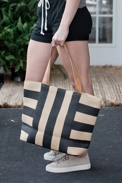 Black Toast Wide Striped Tote