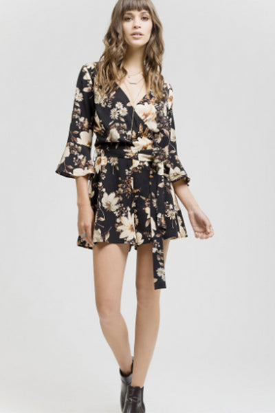 Floral Romper with Waist Tie
